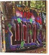 British Columbia Train Wreck Graffiti Wood Print