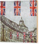 British Flags Flying Above Regent St Wood Print