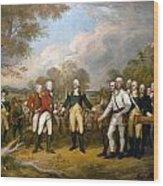 British General John Burgoyne Surrenders At Saratoga Wood Print