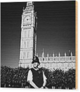 british metropolitan police office guarding the houses of parliament London England UK Wood Print