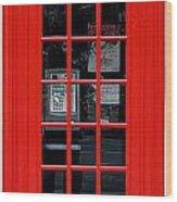 British Phone Box Wood Print