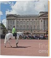 British Royal Guards Riding On Horse And Perform The Changing Of The Guard In Buckingham Palace Wood Print