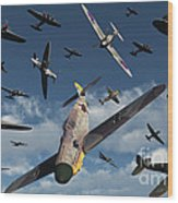 British Supermarine Spitfires Attacking Wood Print