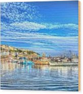 Brixham Devon England Uk English Harbour Summer Day With Blue Sky Traditional Coast Scene Wood Print