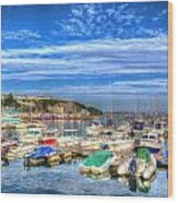 Brixham Marina Devon England Uk On Calm Summer Day With Blue Sky Wood Print