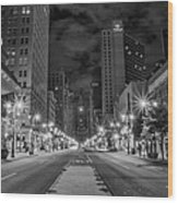 Broad Street At Night In Black And White Wood Print
