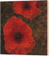 Brocade Textured Poppies Wood Print