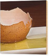 Broken Brown Egg  Wood Print