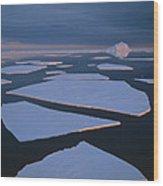 Broken Fast Ice Under Midnight Sun East Wood Print