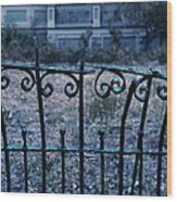 Broken Iron Fence By Old House Wood Print