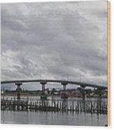 Broken Jetty And Franklin Roosevelt Memorial Bridge   Wood Print