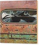 Broken Rear View Window Wood Print