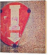 Broken Round Sign With Arrow Wood Print