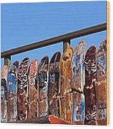 Broken Skateboard Fence Wood Print