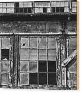 Broken Windows In Black And White Wood Print