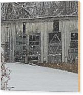 Broken Windows In The Snow Wood Print by Sharon Costa