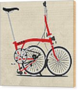 Brompton Bike Wood Print by Andy Scullion