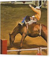 Bronc Bucking Out The Gate Wood Print