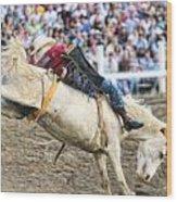 Bronc Rider 001 Wood Print