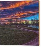 Bronco Sunset Wood Print