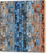 Bronze Blue Wall Wood Print