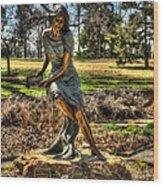 Bronze Girl At Woodward Park Wood Print