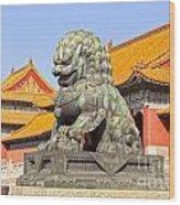 Bronze Lioness Forbidden City Beijing Wood Print by Colin and Linda McKie