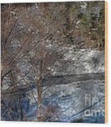 Brook And Bare Trees - Winter - Steel Engraving Wood Print
