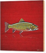 Brook Trout On Red Leather Wood Print