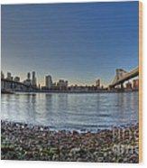 Brooklyn And Manhattan Bridge Fisheye Wood Print