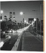 Brooklyn Bridge And Manhattan Skyline At Dusk 1980s Wood Print