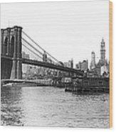 Brooklyn Bridge And Ny Skyline Wood Print