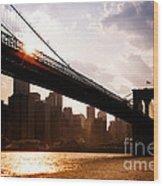 Brooklyn Bridge And Skyline Manhattan New York City Wood Print