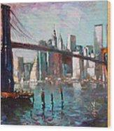 Brooklyn Bridge And Twin Towers Wood Print
