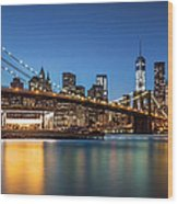 Brooklyn Bridge At Dusk Wood Print