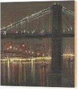 Brooklyn Bridge Cruciform Wood Print by Tom Shropshire