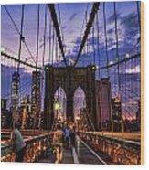 Brooklyn Bridge Evening Wood Print