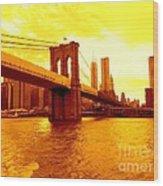 Brooklyn Bridge In Yellow Wood Print