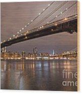 Brooklyn Bridge Lights Wood Print