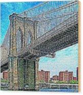 Brooklyn Bridge New York 20130426 Wood Print by Wingsdomain Art and Photography