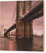 Brooklyn Bridge - Red Morning Wood Print by Gary Heller