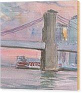 Brooklyn Bridge Sunset 2013 Wood Print
