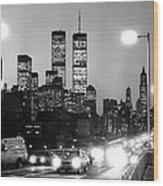 Brooklyn Bridge Traffic II Dusk 1980s Wood Print