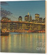 Brooklyn Bridge Twilight Wood Print