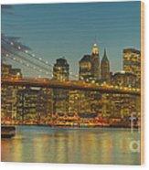 Brooklyn Bridge Twilight Panoramic Wood Print