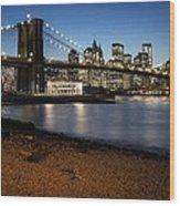Brooklyn Bridge View Wood Print