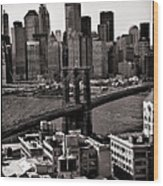 Brooklyn Bridge View In Sepia Wood Print