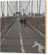 Brooklyn Bridge Walkway Wood Print