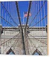 Brooklyn Bridge With American Flag Wood Print