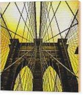 Brooklyn Bridge Yellow Wood Print